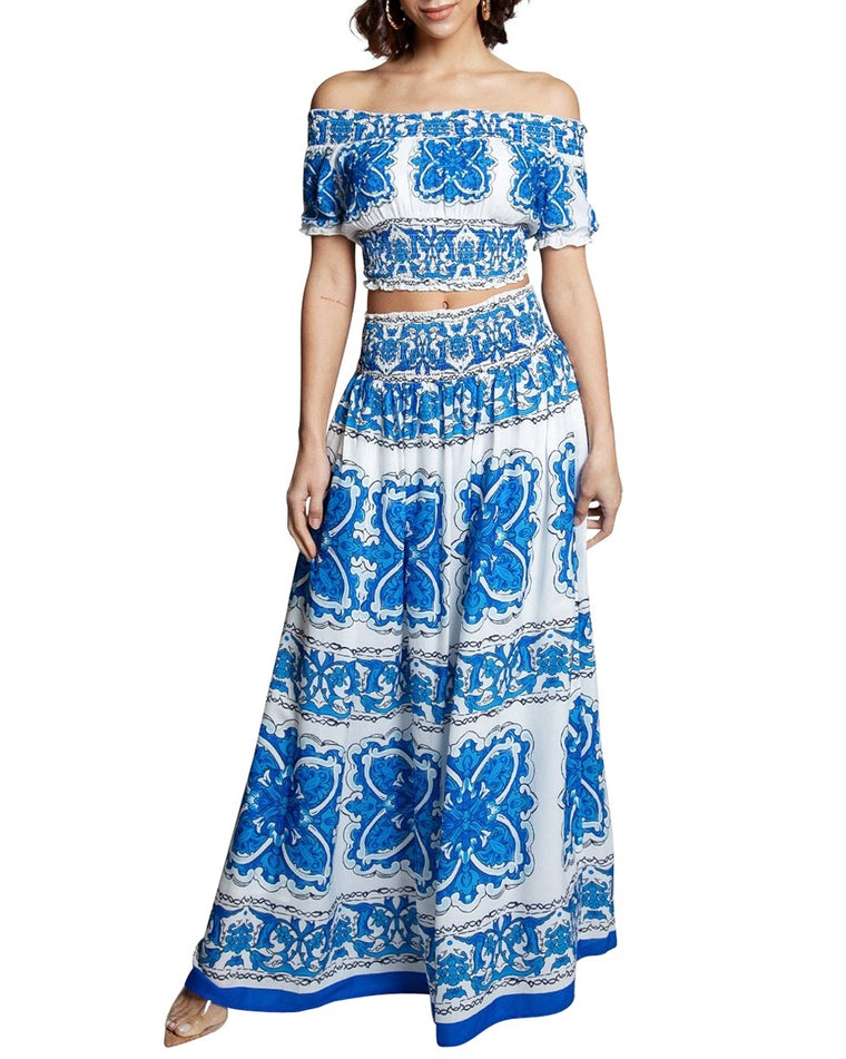 Blue Brocade Print Two-Piece Maxi Dress