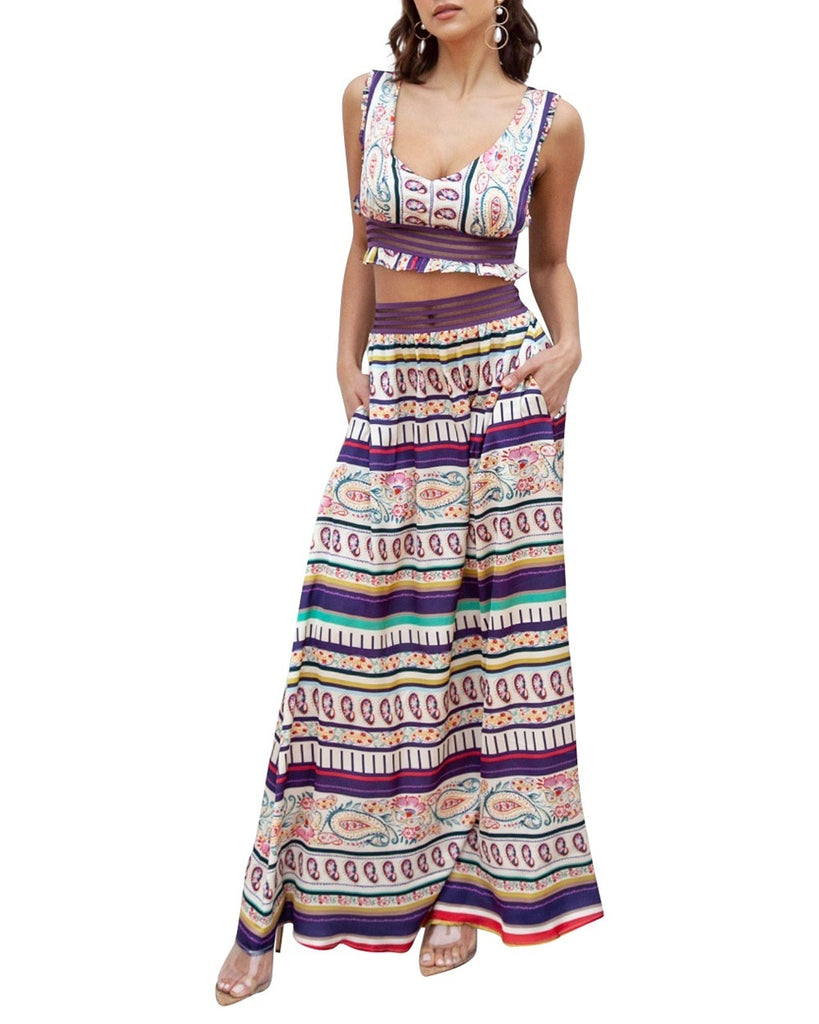 Bohemian Stripe Two-Piece Maxi Dress