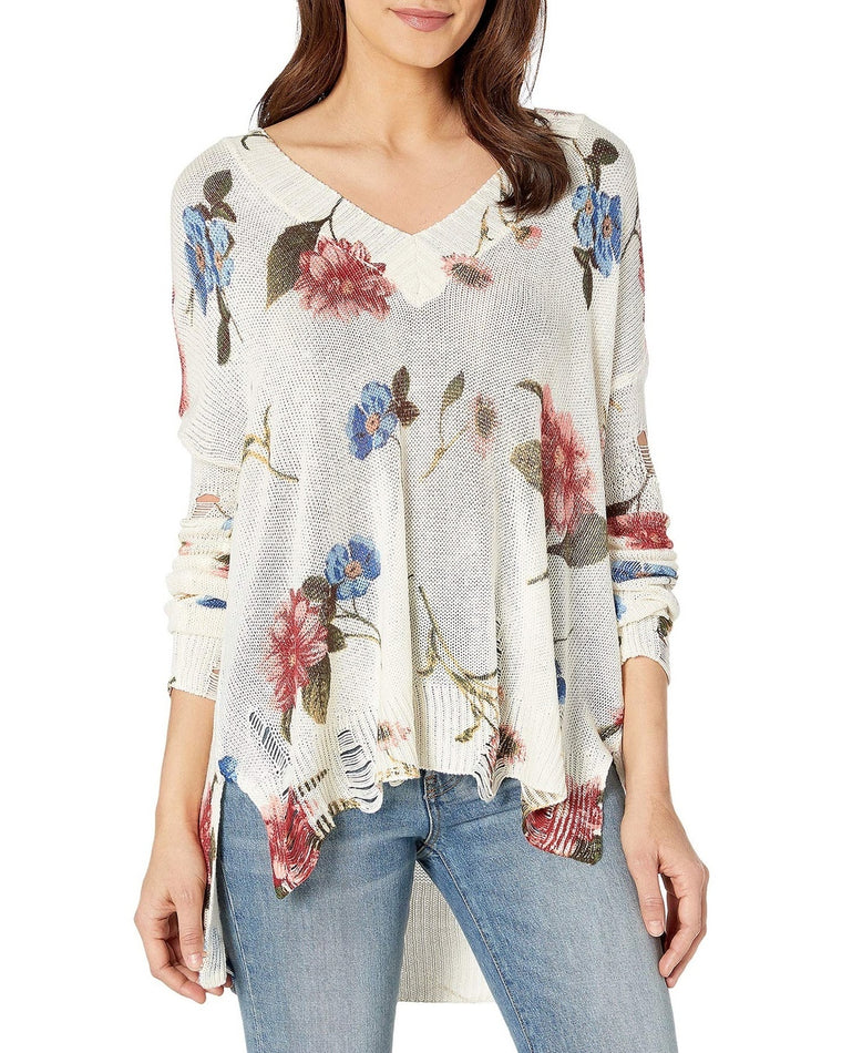 Cliffside Distressed Floral Sweater