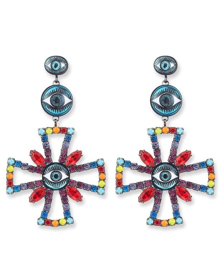 Alvey Evil Eye Cross Drop Earrings