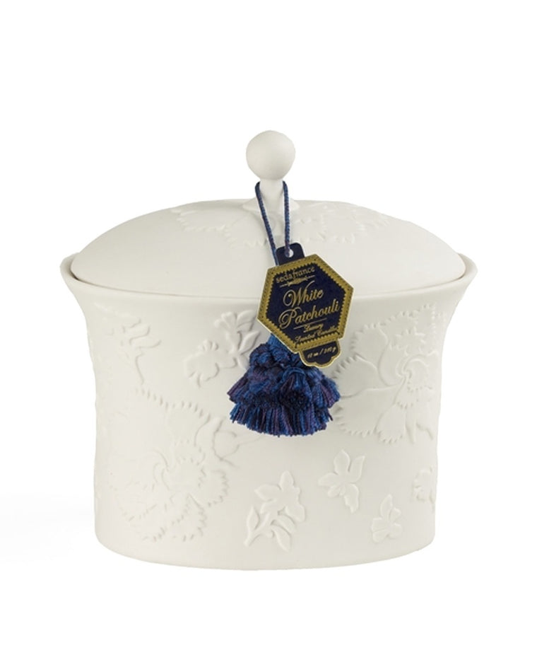 White Patchouli Bleu et Blanc Two-Wick Ceramic Candle