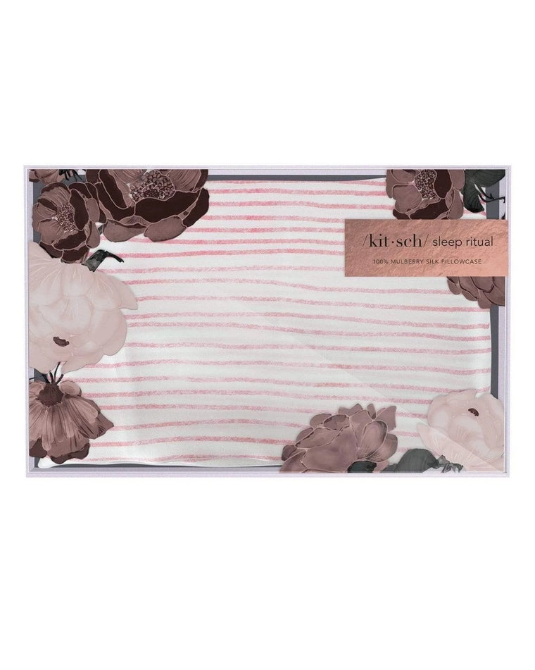 Pink Stripe Silk Pillowcase