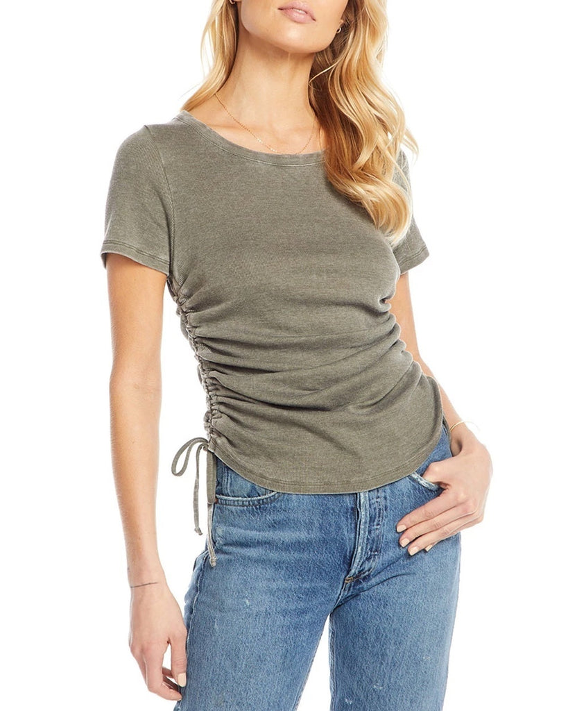 Ruched Drawstring Sides Ribbed Tee