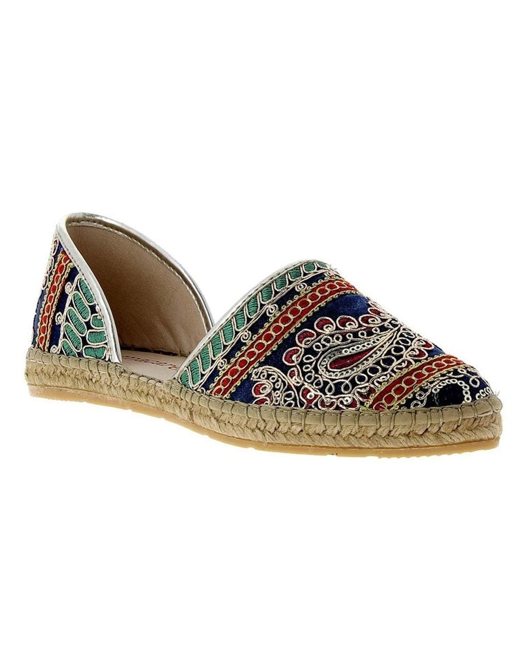 Chandra Embroidered D'Orsay Espadrille Flats