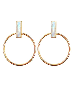 Gemstone Bar Hoops