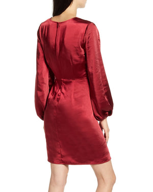 Brooklyn Ruched Long Sleeve Satin Dress