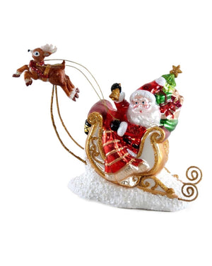 Santa in Flying Sleigh Figurine