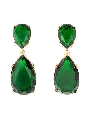 Emerald and Gold Teardrop Earrings