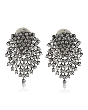 Gunmetal Crystal Cluster Clip-On Earrings