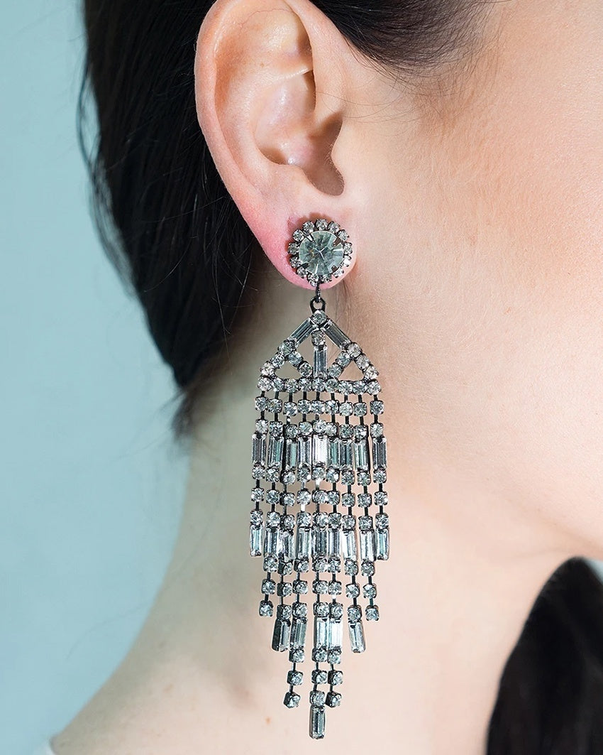 Gunmetal and Crystal Waterfall Clip-On Earrings
