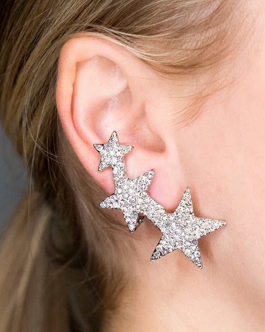 Three Star Crystal Clip-On Earrings