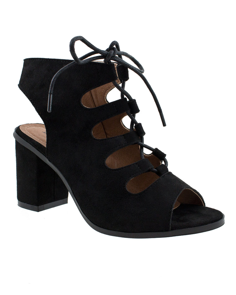 Smart Strut Black Suede Lace-Up Sandals