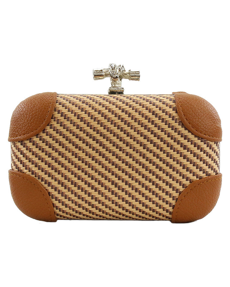 Woven Straw Knot Clutch
