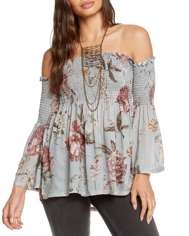 Heirloom Floral Smocked Off-the-Shoulder Tunic Top