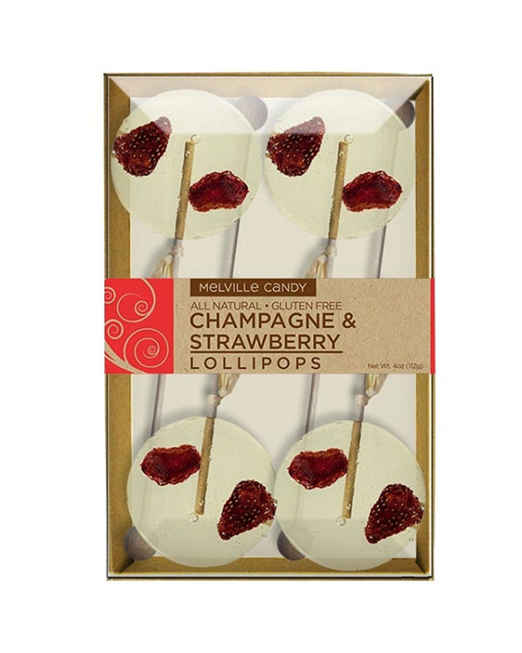 Strawberry and Champagne Natural Lollipops Gift Set