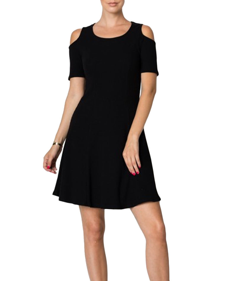 Black Ribbed Cold Shoulder Dress