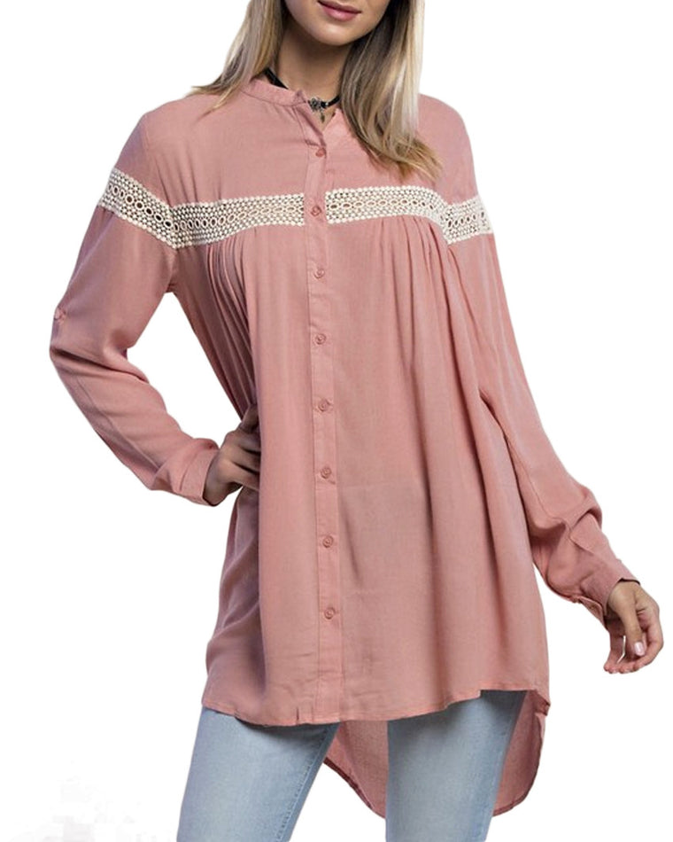 Oversized Collarless Button Up Blouse