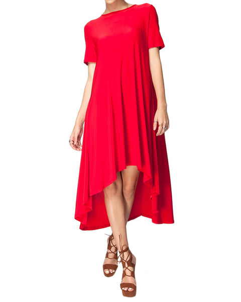 Flowing High-Low Short Sleeve Dress