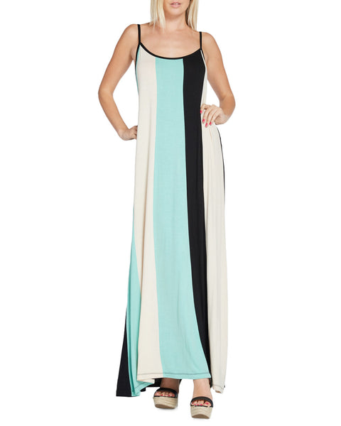 Bold Colorblock Stripe Sleeveless Maxi Dress