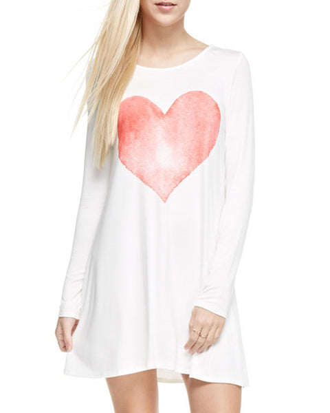 Watercolor Heart Shift Dress