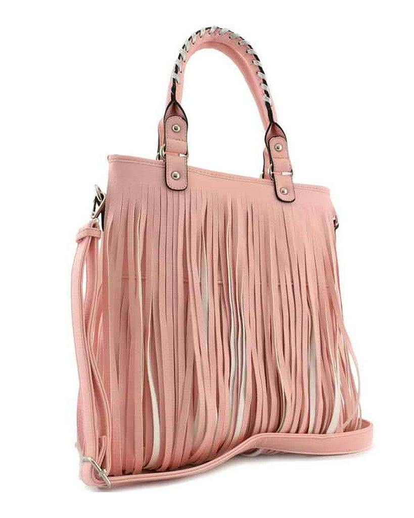 Woven Handle Fringe Tote