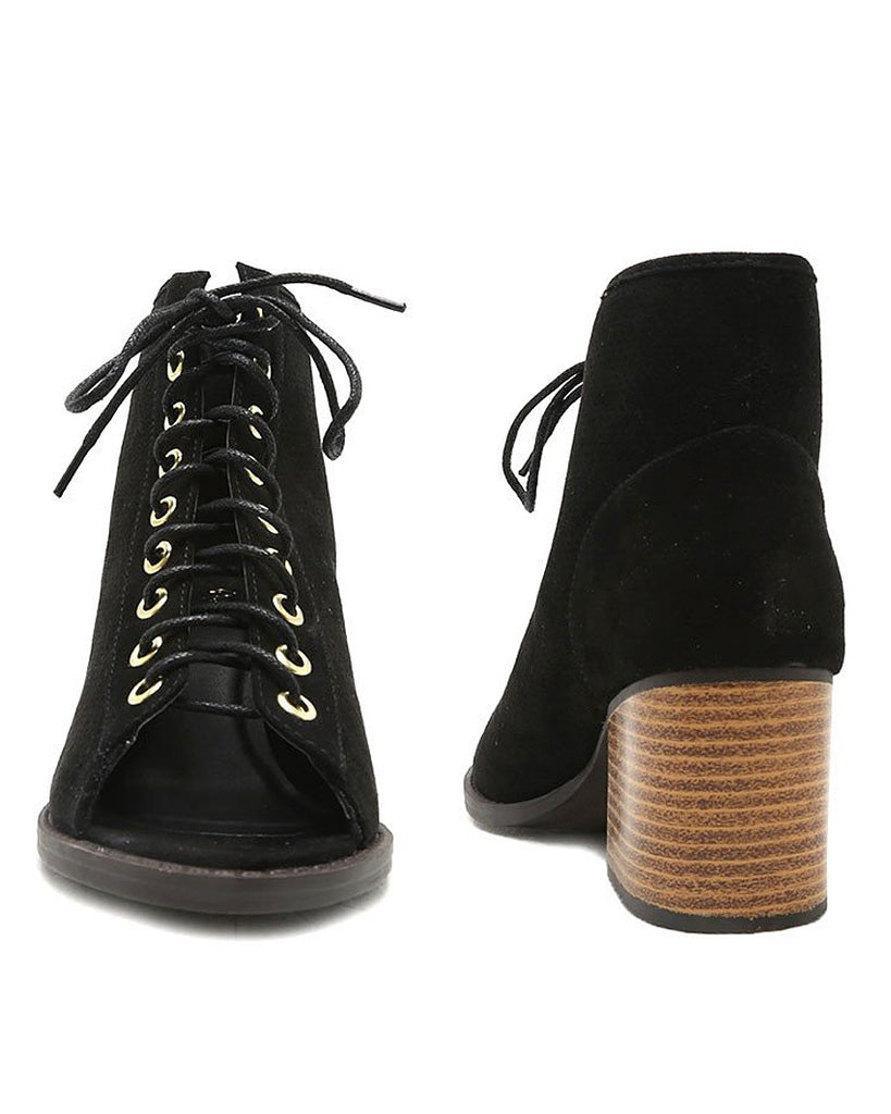 Only the Latest Lace-Up Perforated Booties