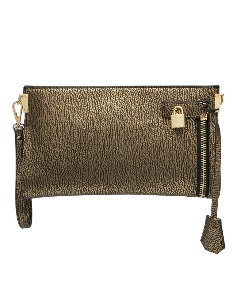 Misha Pebble Leather Clutch