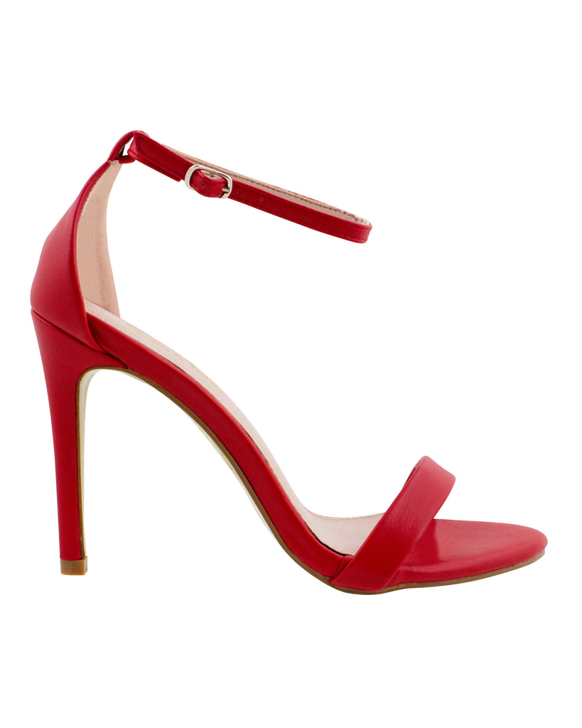 Girl On Fire Red Ankle Strap Heels