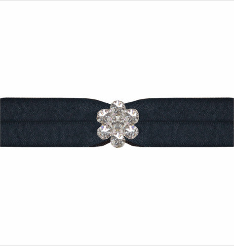 Emi-Jay Black Satin Hair Tie with Silver Crystal Flower