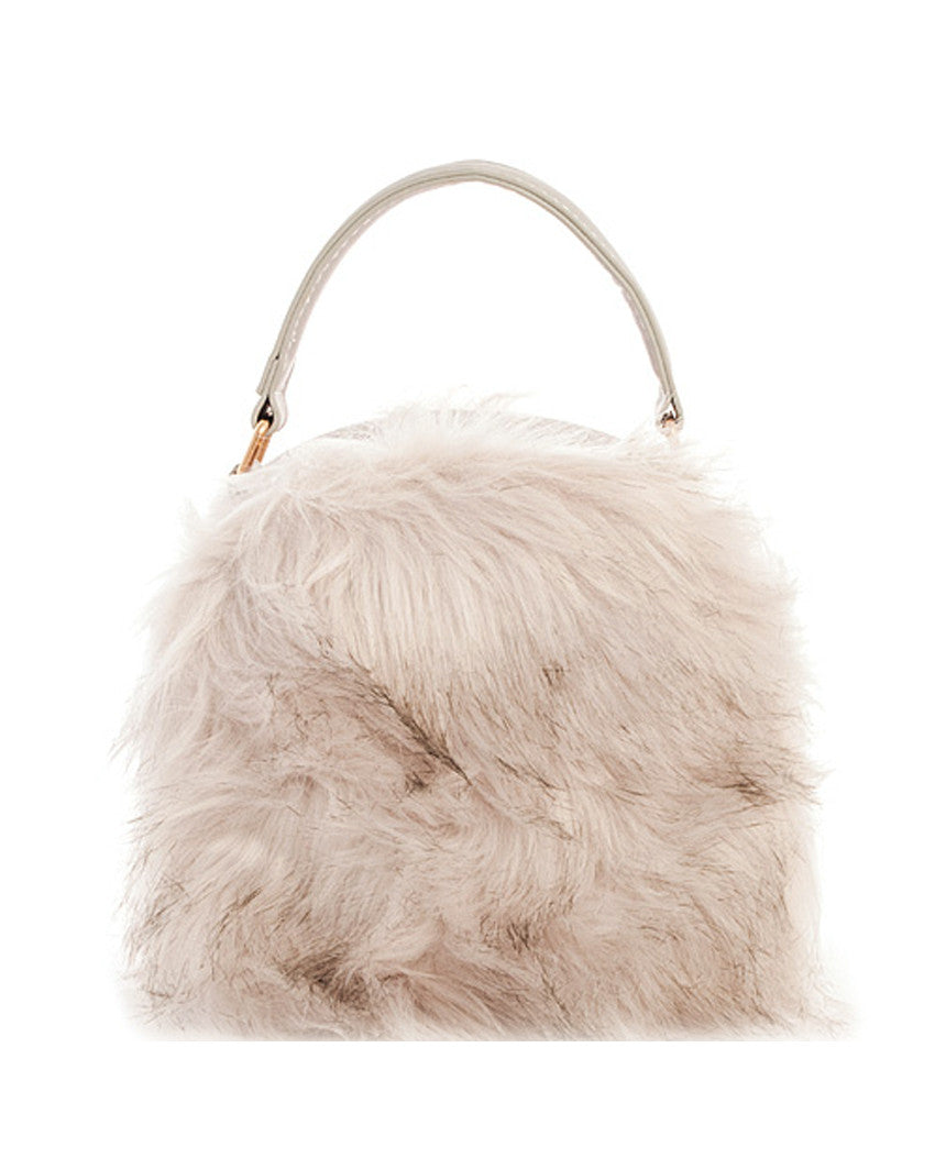 62af96fc95 Round Faux Fur Canteen Purse - The Shopping Bag