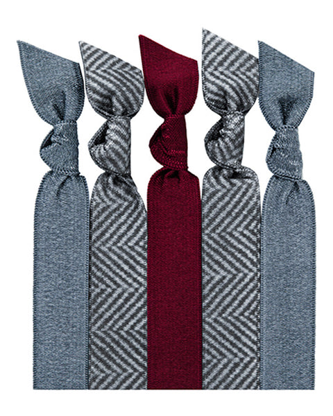 Gray Herringbone Five Hair Tie Pack