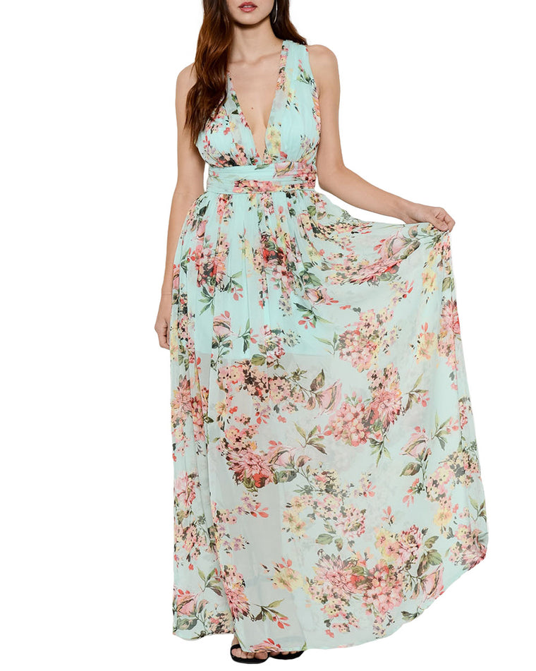Mint V-Neck Floral Chiffon Maxi Dress