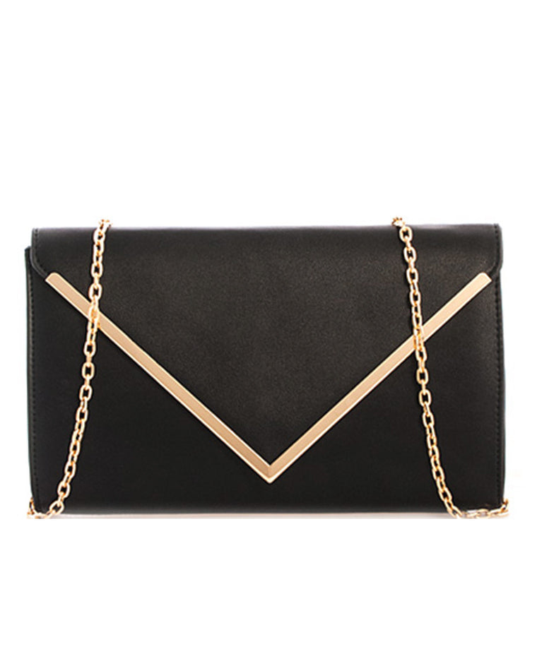 Metallic Bar Detail Envelope Clutch