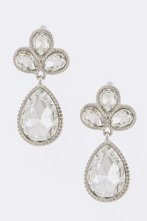 Elaine Crystal Teardrop Earrings