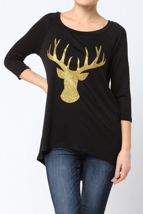Gold Glitter Deer High-Low Top