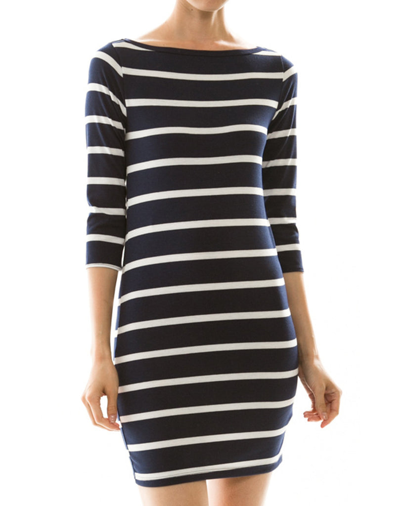 Simple Stripes Three-Quarter Sleeve Dress - Navy