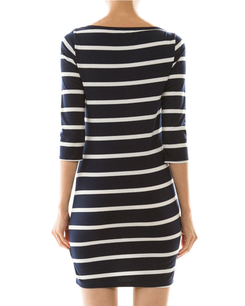Simple Stripes Three-Quarter Sleeve Dress