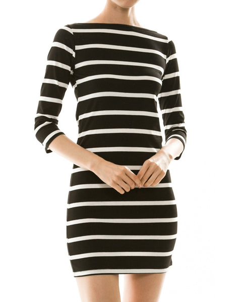 Simple Stripes Three-Quarter Sleeve Dress - Black