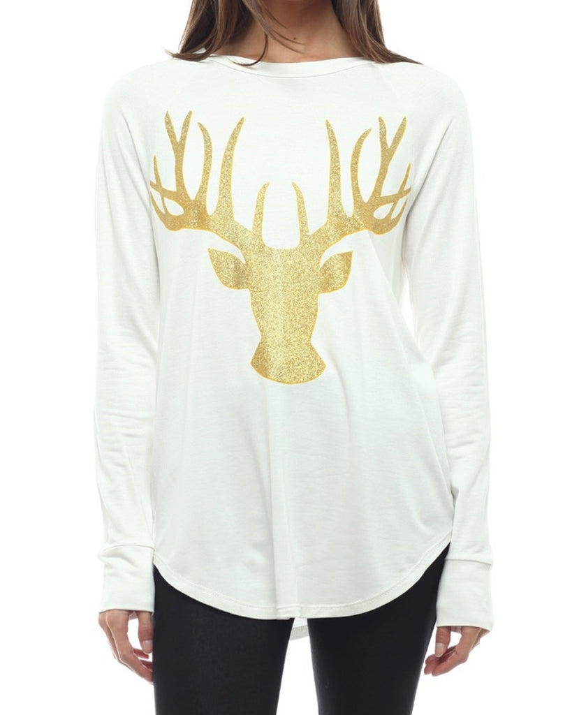 Gold Metallic Deer Top