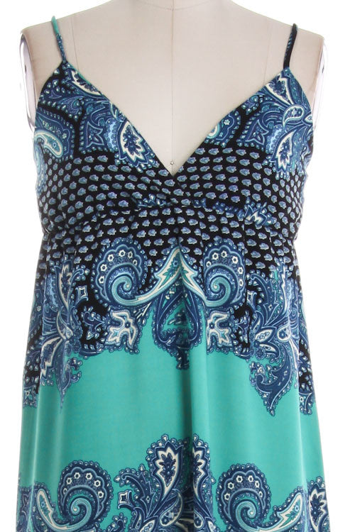 Paisley Spaghetti Strap Maxi Dress