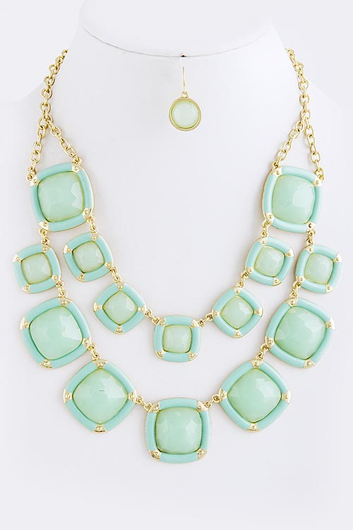 Geo Mint Layered Statement Necklace