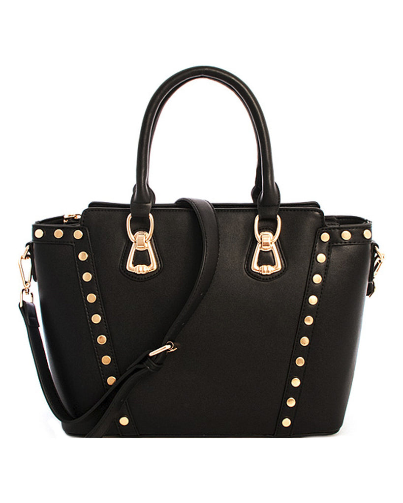 Circle Studded Leather Satchel