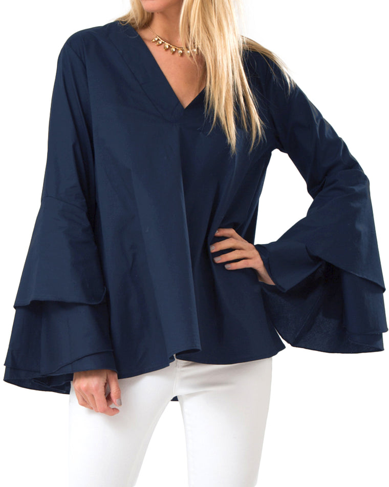 Navy Tiered Ruffle Bell Sleeve Tunic