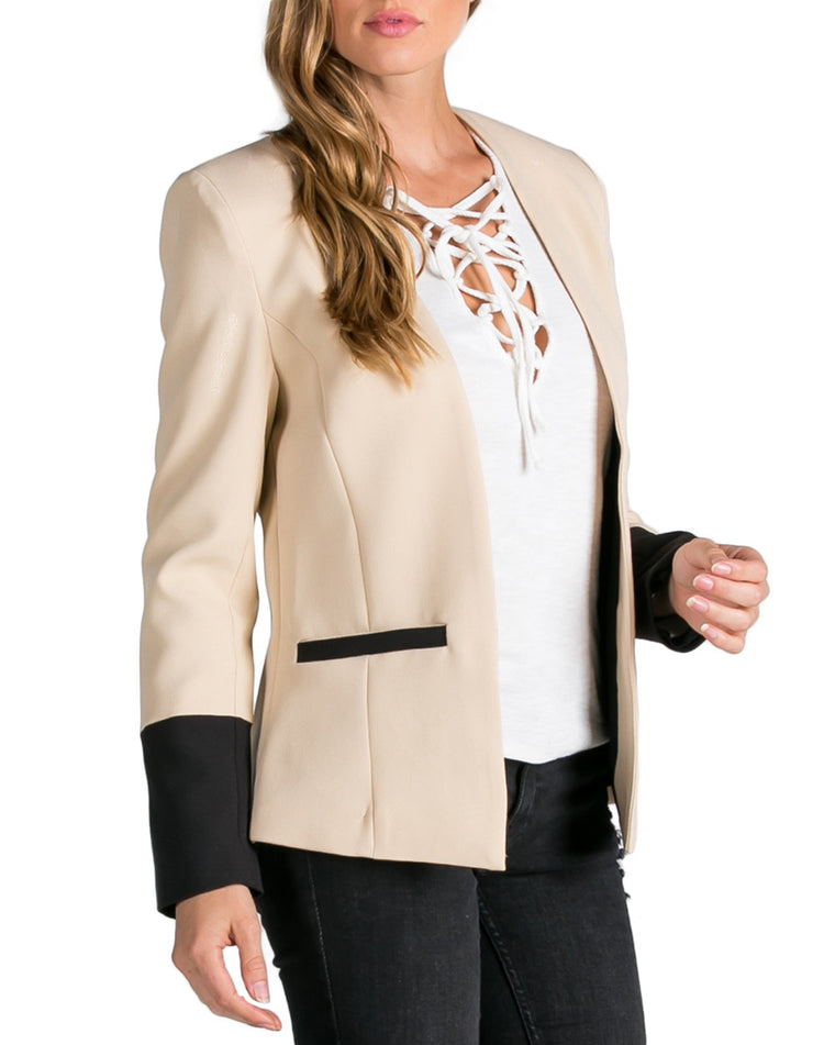 Beige and Black Structured Blazer