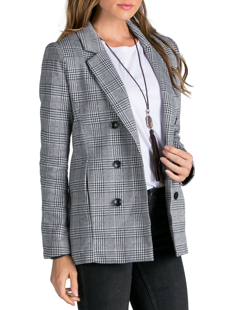 Houndstooth Plaid Double Breasted Blazer