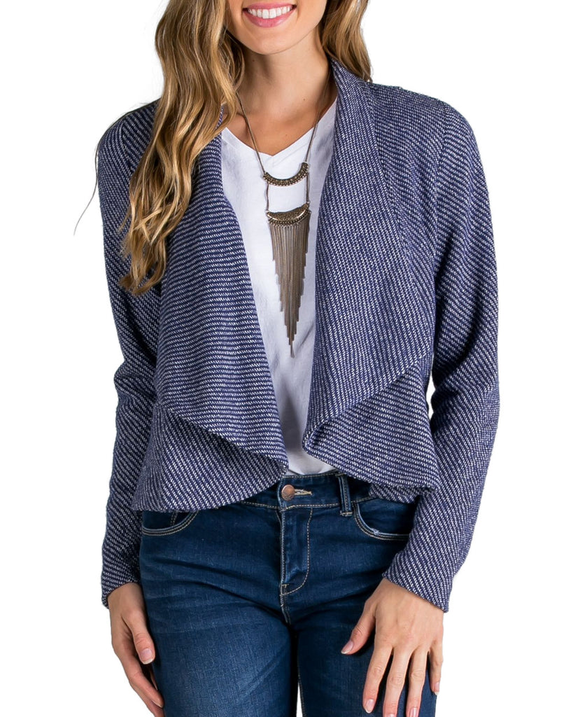 French Terry Knit Open Cardigan