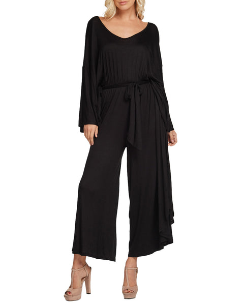 Wide Leg Black Jersey Midi Jumpsuit