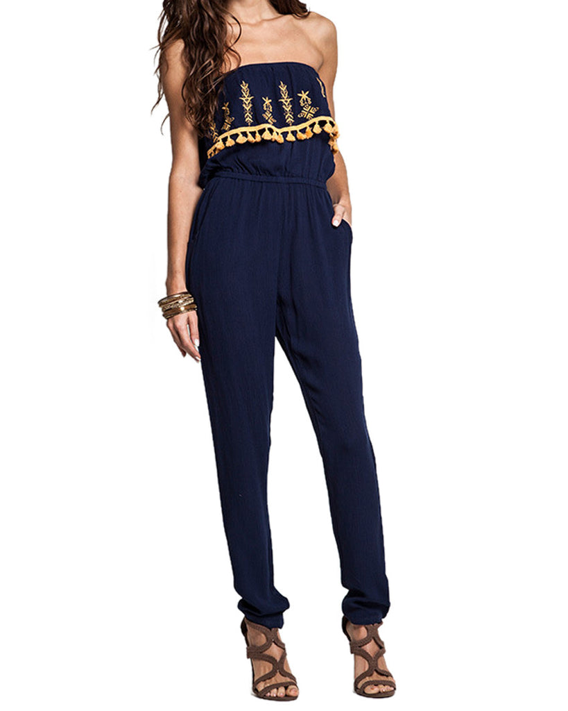 Strapless Embroidered Jumpsuit