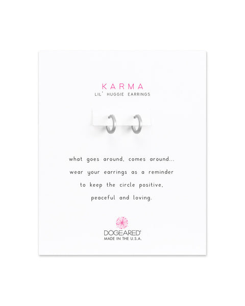 Karma Small Huggie Hoop Earrings