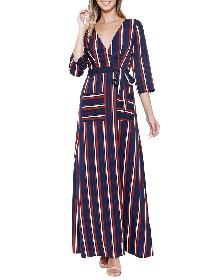 Stripe Waist Tie Maxi Wrap Dress
